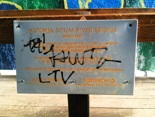 Astoria Scum River Bridge plaque tagged