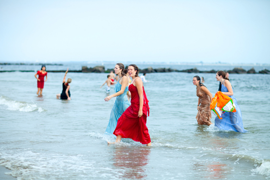 ladies leaving the water