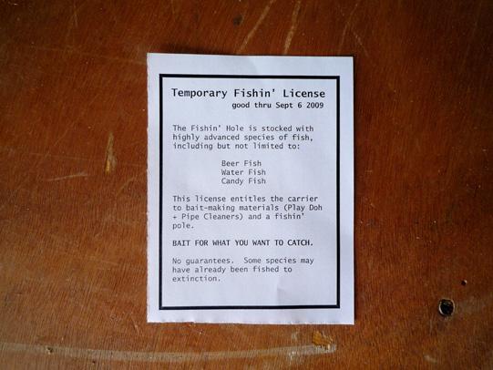 Temporary Fishin' License
