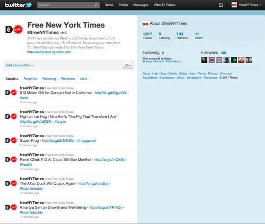 Twitter Feed w/ NYTimes logo