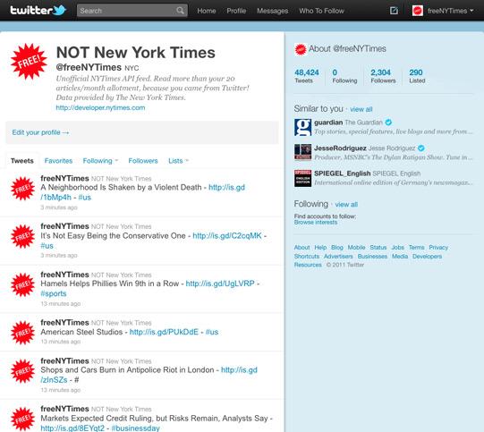 Twitter Feed w/o NYTimes logo