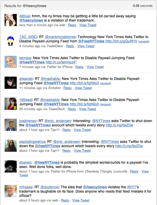 Twitter search for @freeNYTimes