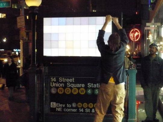 Installing the Pixelator at Union Square