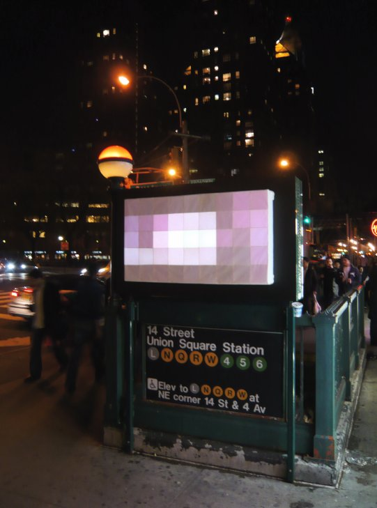 Purple Pixelator at Union Square
