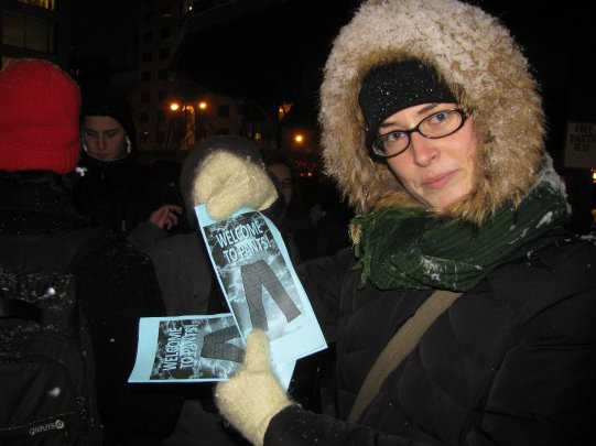 Anna with pamphlets