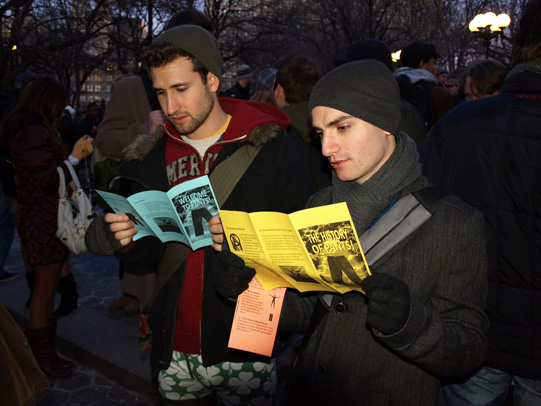 reading pamphlets