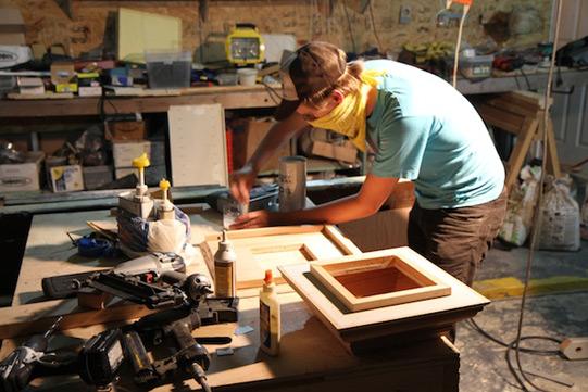 Alex builds the lectern