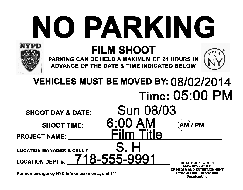 Prank film shoot no parking signs jason eppink 39 s for No parking signs template